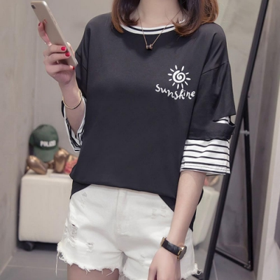 Hera 赫拉-開口純色半袖條紋假兩件棉T恤-3色