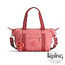 Kipling 手提包 豆沙霧粉素面-小
