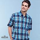 歐洲貴族oillio 短袖襯衫 流行泡泡棉 格紋休閒 藍色