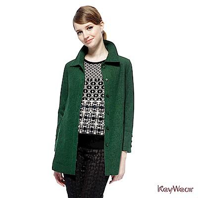 KeyWear奇威名品    帥氣強梭呢外套-綠色