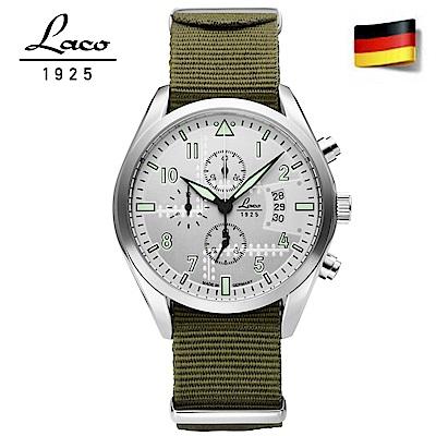 Laco 朗坤861918 德國工藝 軍事風格三眼計時腕錶石英錶 銀色/42mm