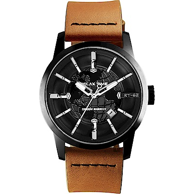 RELAX TIME RT62S 系列 人動電能地球手錶-黑x咖啡色帶45mm