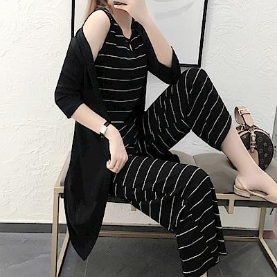 時尚氣質休閒條紋三件式褲套裝XL~5XL-KVOLL
