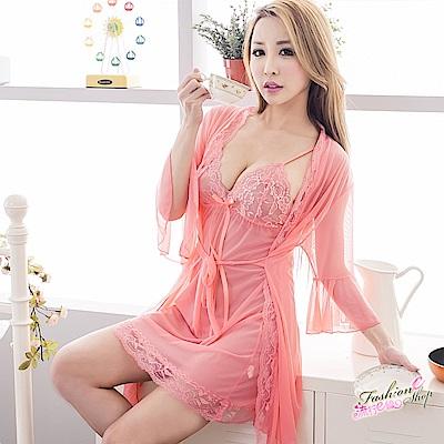 大尺碼睡衣 3件式和服式睡袍薄紗性感睡衣 XL號  流行E線