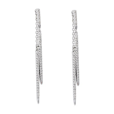 SWAROVSKI 施華洛世奇 FINE PIERCED璀璨線條水晶銀色垂墜耳環