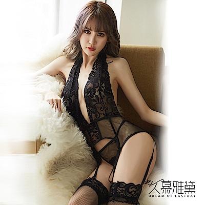 情趣睡衣 花朵蕾絲深V網格吊帶襪套裝 久慕雅黛
