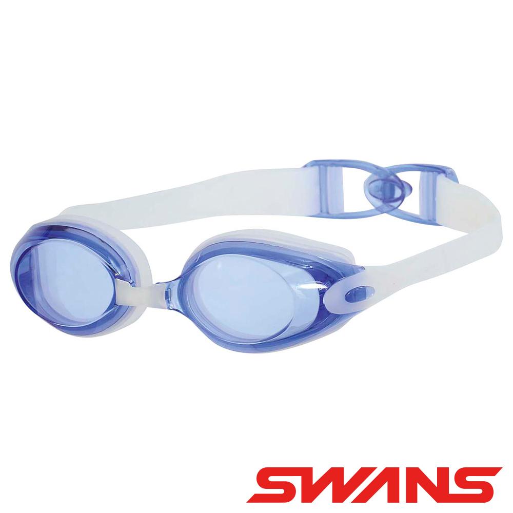 【SWANS 日本】專業光學柔軟舒適型泳鏡 ( 防霧/抗UV/矽膠 SWB-1 透明藍)