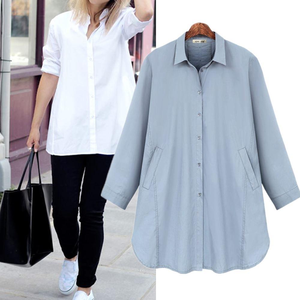 MOCO素色斜口袋排釦背大開叉背釦造型寬鬆襯衫L~4XL