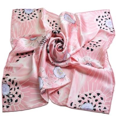 Dior 法國製日本限定金魚花圖騰LOGO造型絲巾/領巾(粉紅色)