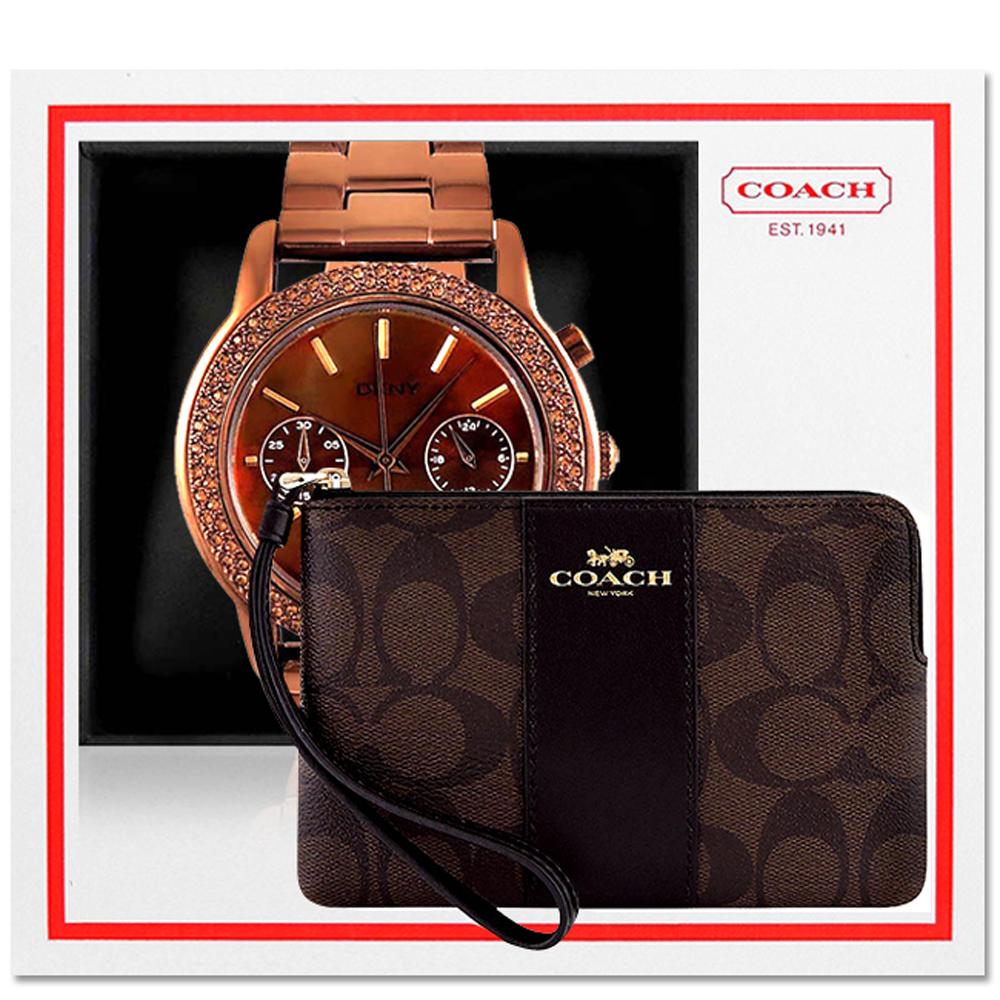 COACH 巧克力色大C PVC手拿包+DKNY 咖啡金色三眼時尚晶鑽腕錶 @ Yahoo 購物