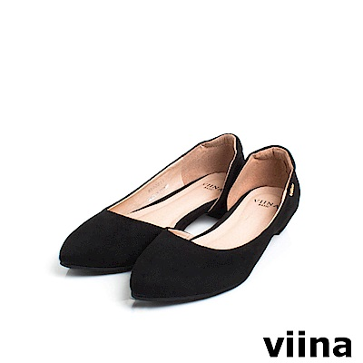 viina Basic素面羊絨布內簍空尖頭鞋 - 黑