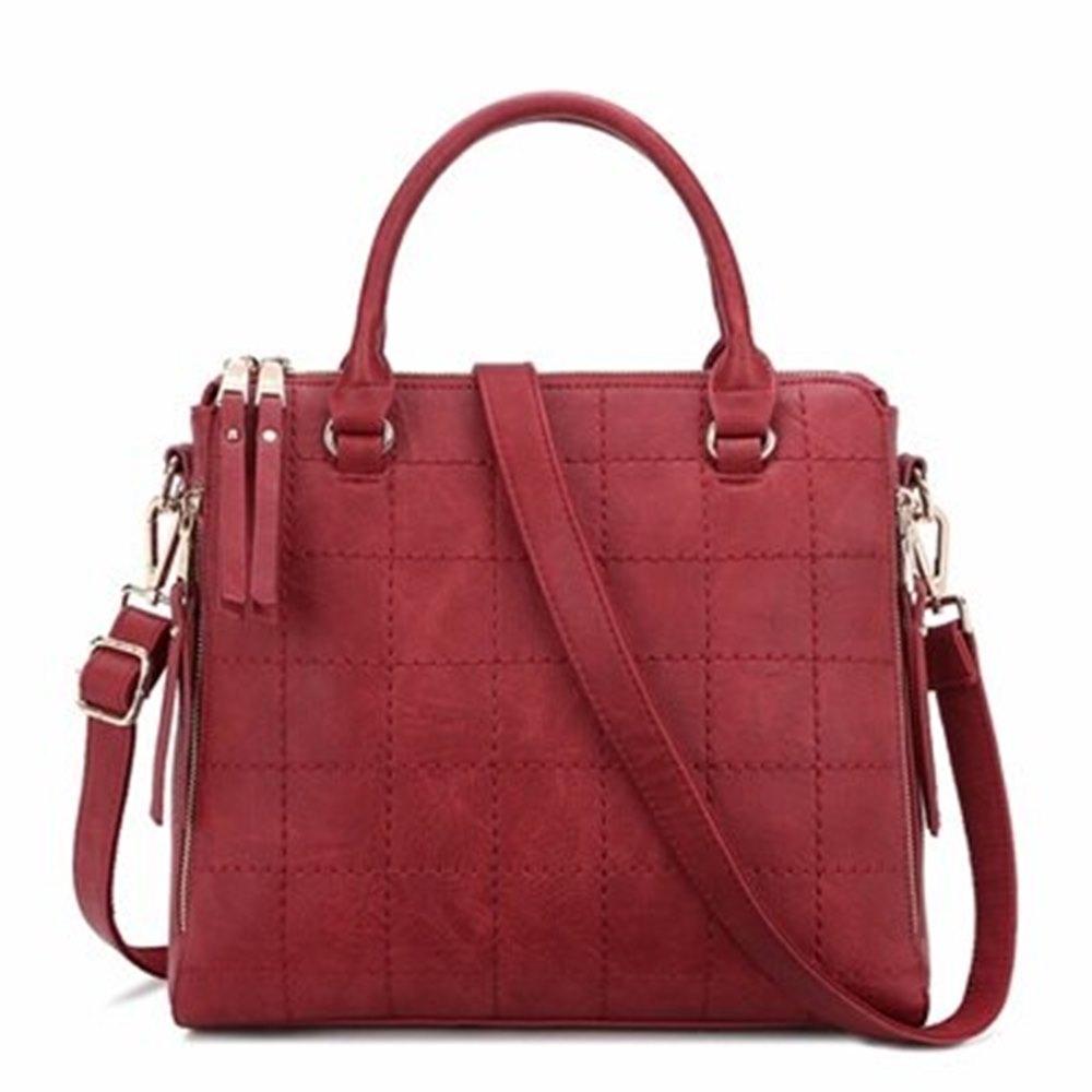 米蘭精品 手提包格紋肩背包-時尚優雅氣質純色女包情人節生日禮物73se26