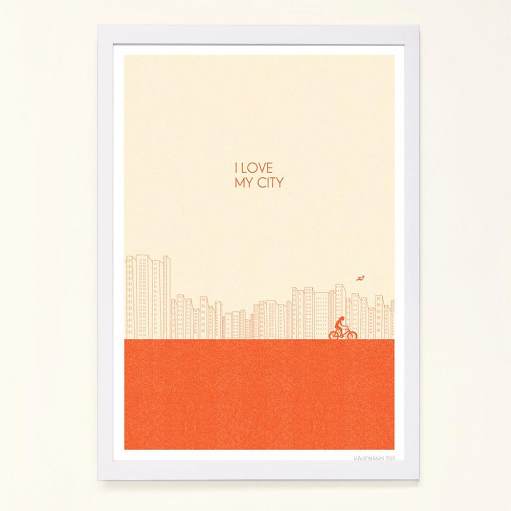摩達客 西班牙知名插畫家Judy Kaufmann藝術掛畫-我愛我的城市橘紅色