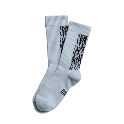 Nozzle Quiz 後研 Landing 中高筒休閒襪 橫紋羅織 男女款 灰焰 單雙入 單一尺寸 23cm-29cm AFLDSX03SK