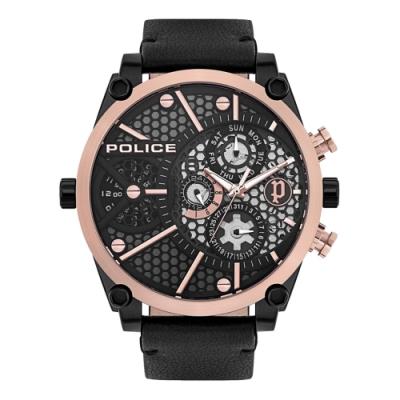 POLICE 星球時區潮流腕錶-黑X玫瑰金(15381JSBR-61)/51mm