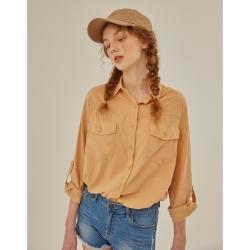 CACO-落肩寬鬆素襯衫(三色)-女【XAR014】