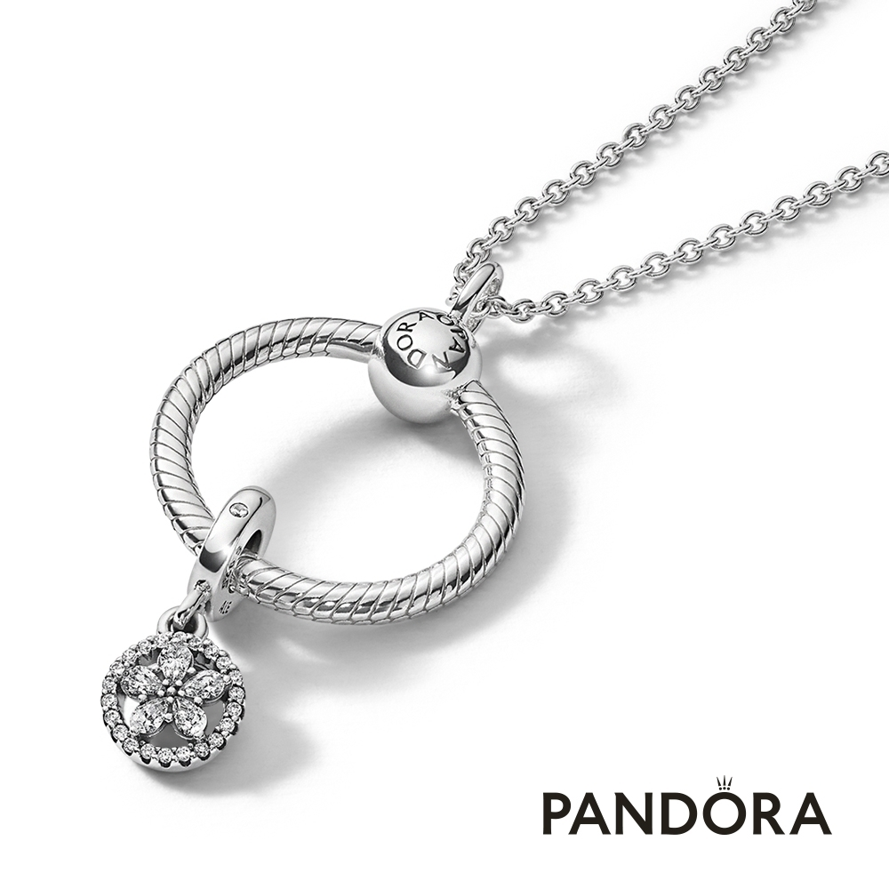 【Pandora官方直營】耀眼雪花套組-項鏈+項鏈環+吊飾