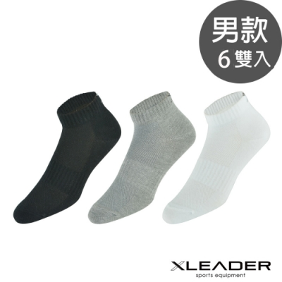LEADER ST-03 經典素色款 休閒運動除臭襪短襪 男款 6雙入
