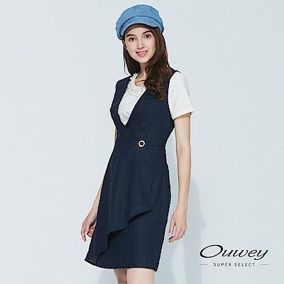 OUWEY歐薇 涼感亞麻造型斜裁背心洋裝(藍)