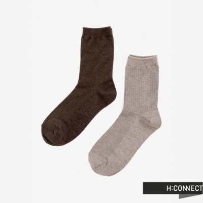 H:CONNECT 韓國品牌 配件 -素面羅紋長襪組-卡其