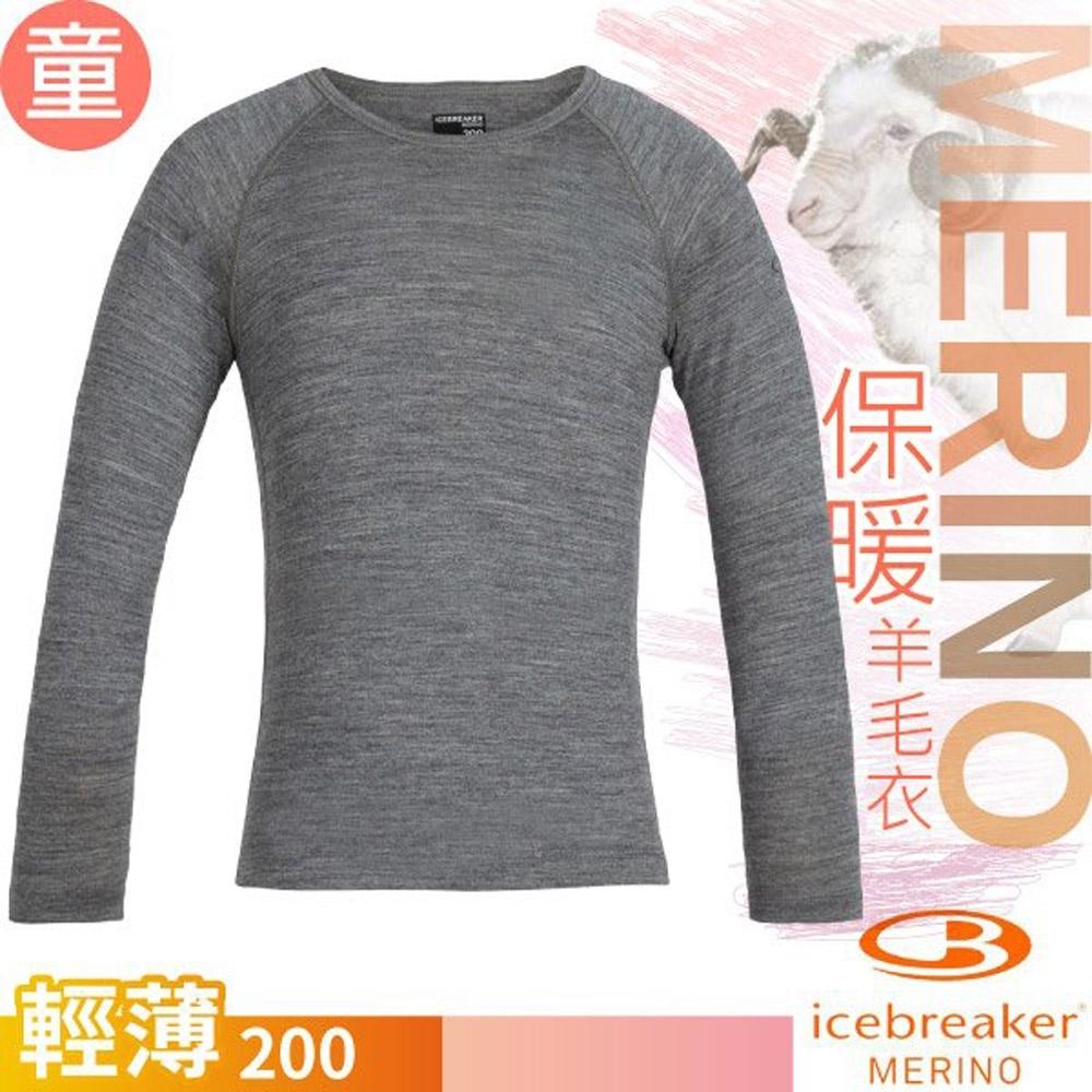 Icebreaker 兒童款 200 Oasis美麗諾羊毛輕薄款長袖圓領上衣_季風灰