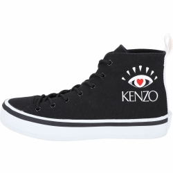 KENZO K-Street 眼冒愛心高筒帆布鞋(男款/黑色)