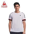 le coq sportif 法國公雞牌肩線拼接LOGO圓領短袖T恤 男-白