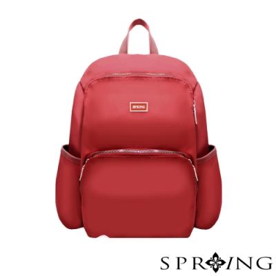 SPRING-未來系列尼龍防盜後背包-寶石紅