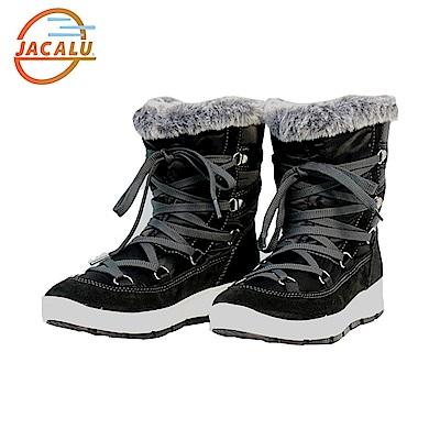Jacalu 中筒布面織帶雪靴2820.18/J 黑色