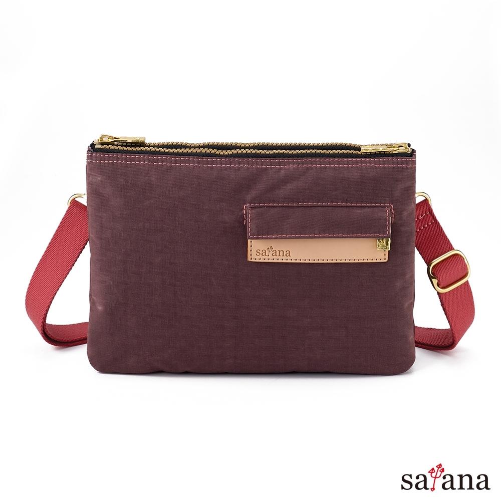 satana - Soldier 愜意生活雙拉鍊斜背包 - 小豆色