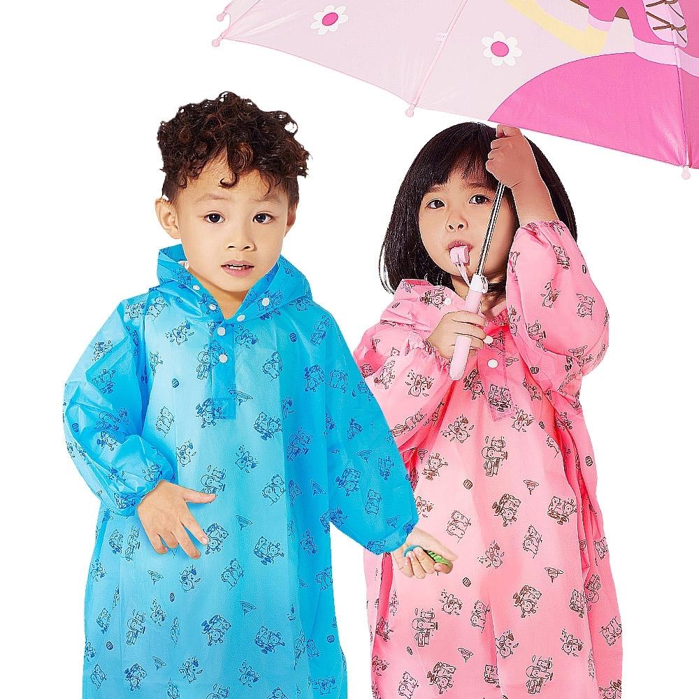 【雙龍牌】通過SGS檢測超輕量Q熊秒套可愛兒童雨衣 套式太空雨衣-果凍藍