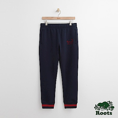 Roots 男裝-刺繡海狸棉質長褲-藍