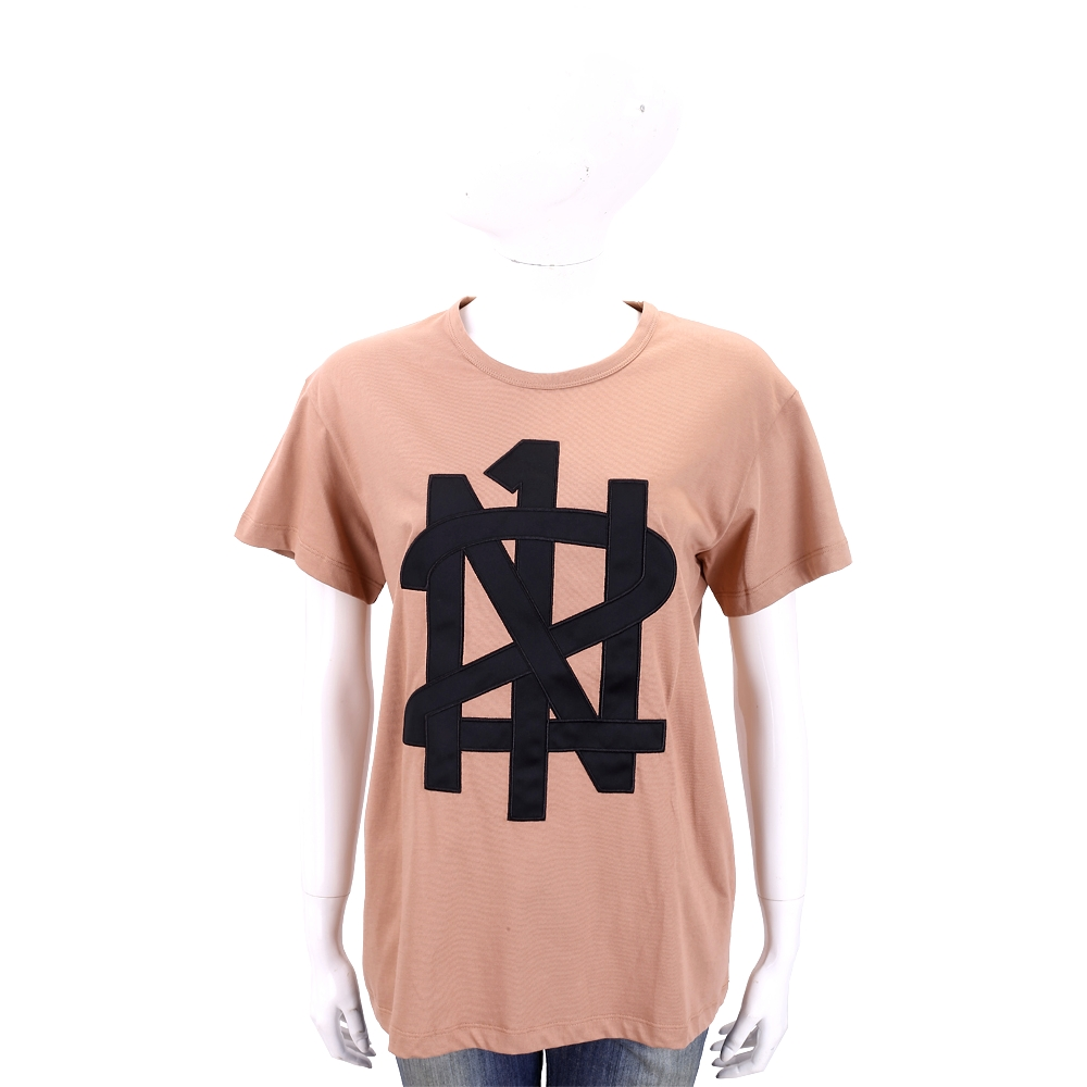 N° 21 字母圖騰標誌深粉棉質T恤