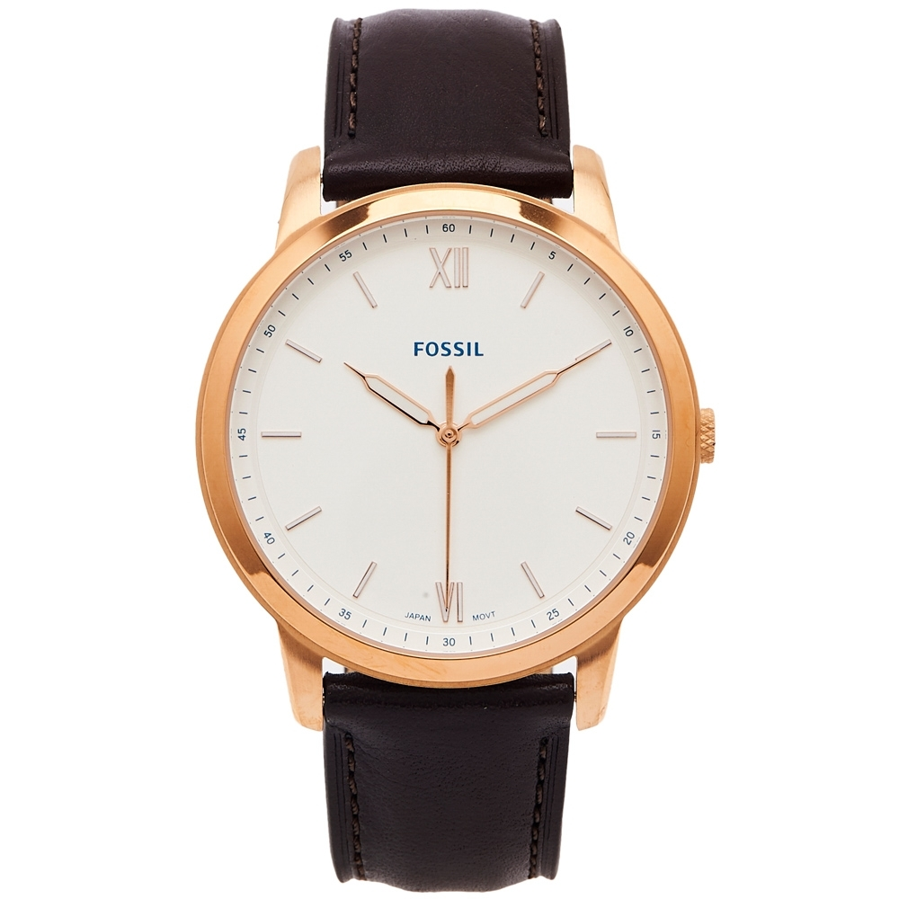 FOSSIL 簡約時尚皮革錶帶手錶(FS5463)-銀白色面x咖啡色/44mm