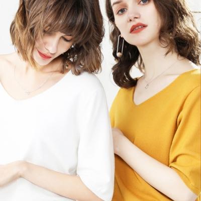 初色  V領薄款針織衫-共10色-(M-2XL可選)