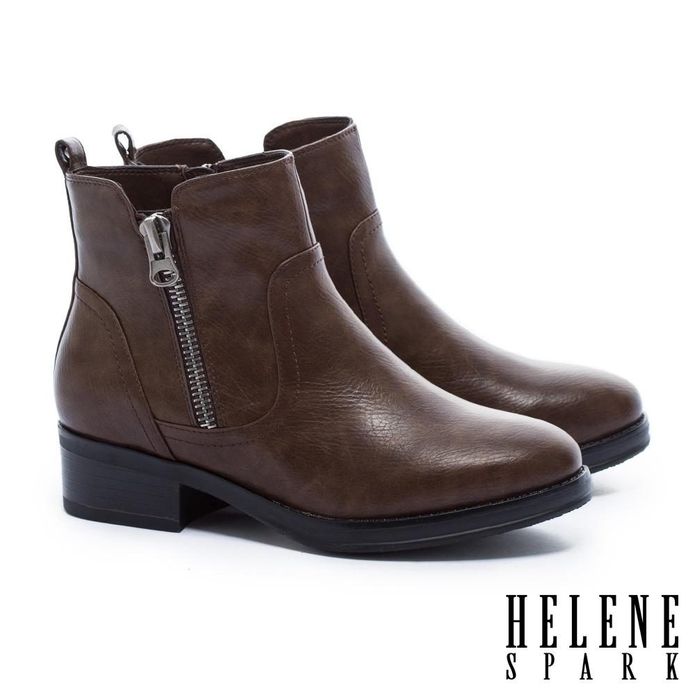 短靴 HELENE SPARK 個性百搭拉練造型皮革粗高跟短靴-咖