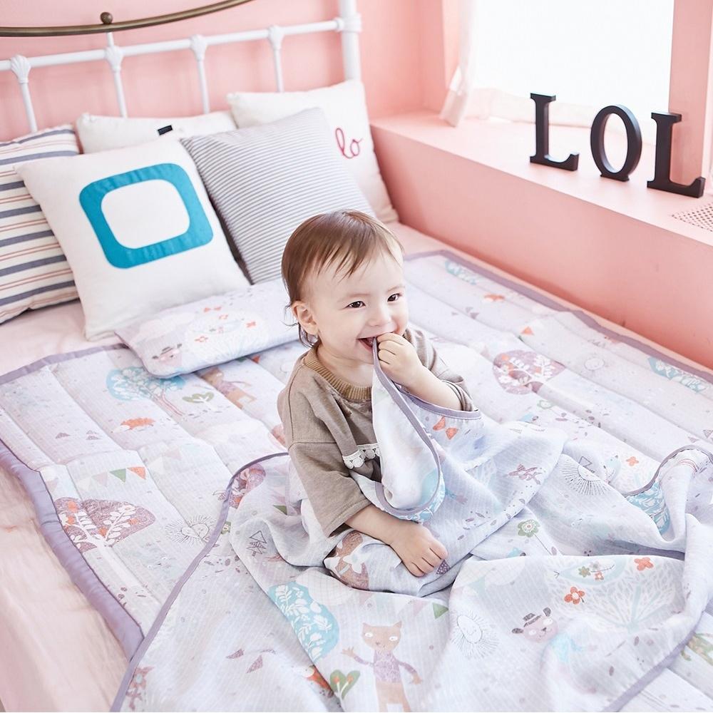 【Lolbaby】Rayon防靜電輕薄柔軟涼感嬰兒床墊-夢幻藍森林