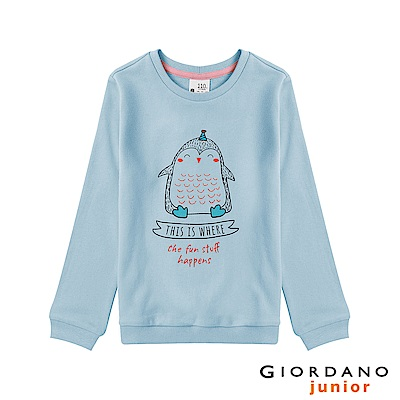 GIORDANO 童裝趣味塗鴉印花長袖T恤-32 酷藍
