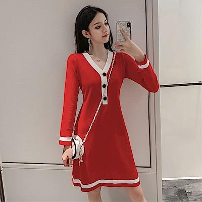 DABI 韓國風V領針織拚色長袖洋裝
