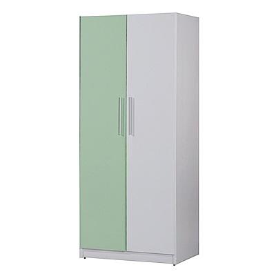文創集 凱旋環保2.7尺塑鋼雙吊衣櫃(五色)-81.5x61.5x200cm-免組