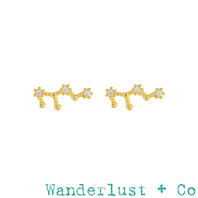 Wanderlust+Co 澳洲品牌處女座耳環 金色鑲鑽耳環 VIRGO