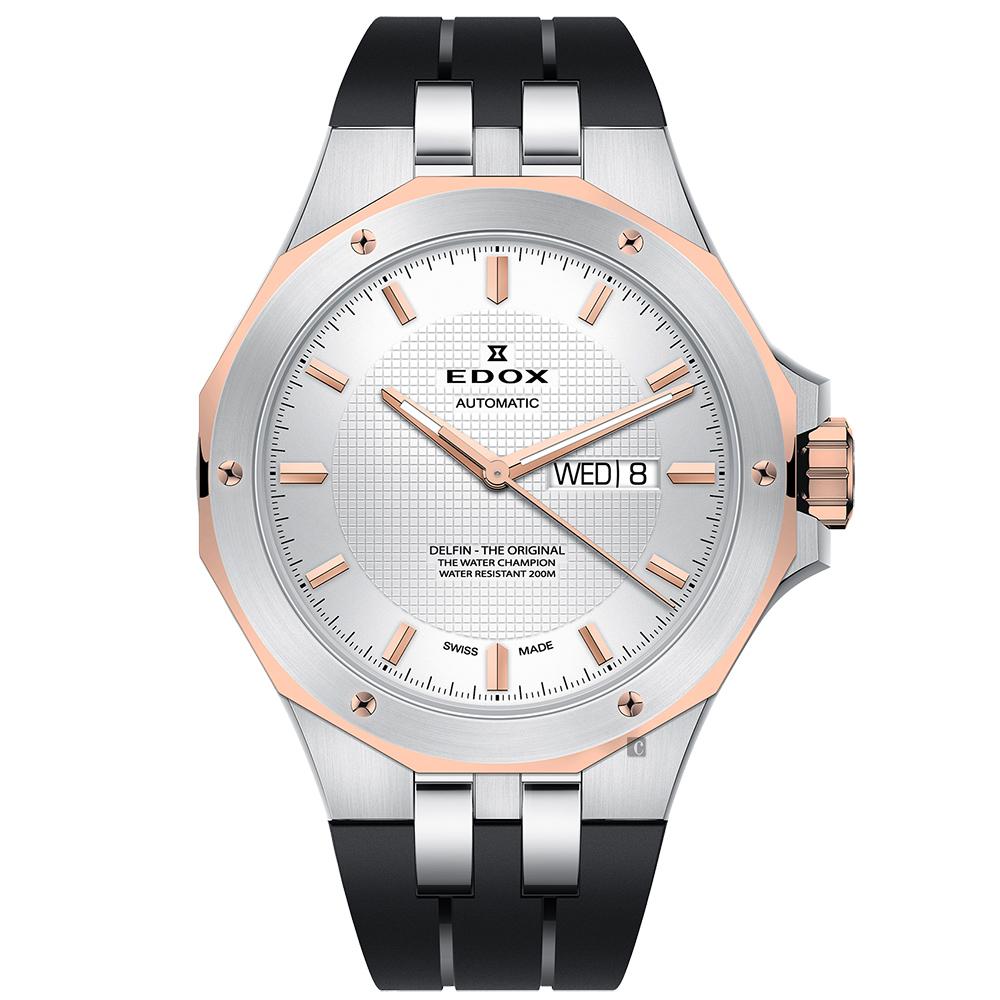 EDOX Delfin 海豚系列 專業200米日曆機械錶-銀x玫塊金框/43mm