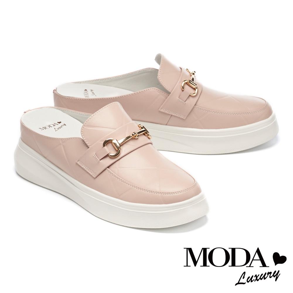 拖鞋 MODA Luxury 時髦馬銜釦牛皮厚底休閒拖鞋-粉