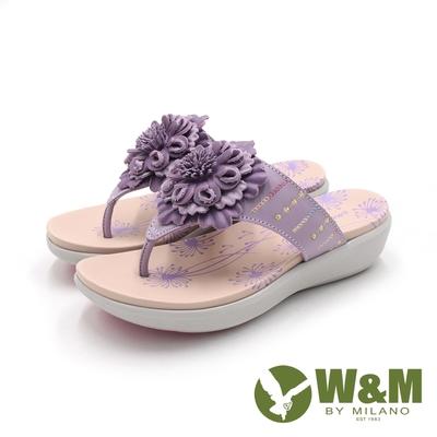 W&M(女)盛夏風情花朵厚底拖鞋 女鞋-紫(另有粉)