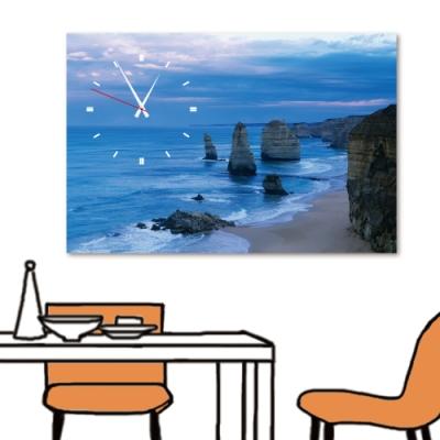 24mama掛畫 單聯式 現代無框畫/時鐘掛畫 40x60cm-清晨海岸