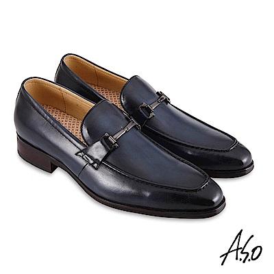 A.S.O職場通勤 3D超動能刷色樂福紳士鞋-深藍