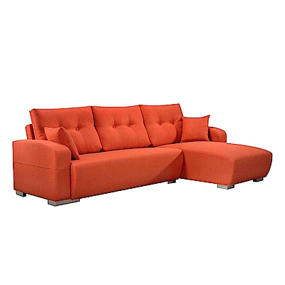 AS-康那理惟士橘布面右L型沙發280x170x97cm