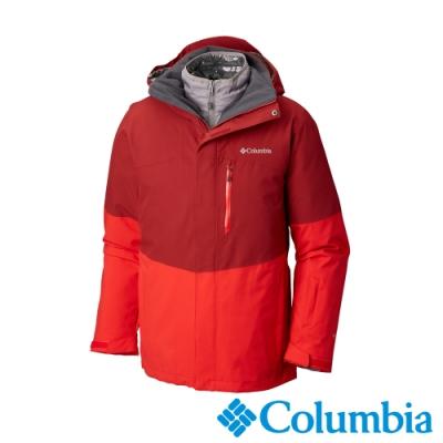 Columbia 哥倫比亞 男款- Omni-TECH防水保暖兩件式羽絨外套-紅色