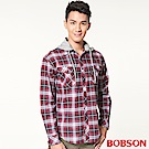 BOBSON 男款連帽刷毛格紋襯衫(紅13)