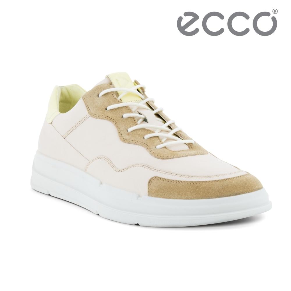 ECCO SOFT X M 撞色拼接運動休閒鞋 男鞋 灰白色/裸色